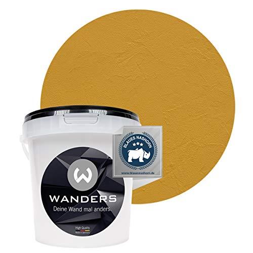 Wanders24 Venezia Stein-Optik (1 Liter, Ocker) Wandfarbe zum Spachteln, 6 Farbtöne erhältlich, Italien für Zuhause, Strukturpaste Made in Germany