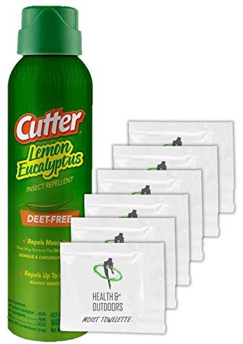 Cutter Lemon Eucalyptus Insect Repellent Aerosol Spray 4 oz W/ Moist Towelettes (1 Pack)
