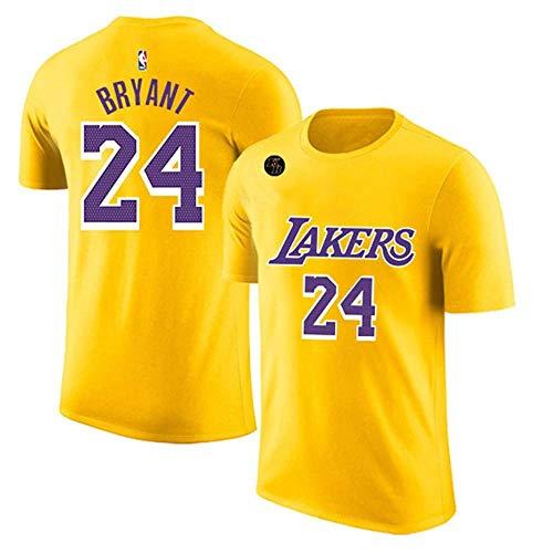 QKJD NBA Baloncesto Uniformes Camiseta de los Lakers Conmemorativa n. ° 24 Kobe City Edition Ropa Deportiva Camiseta de algodón de Manga Corta para Hombre Secado rápido, Transpirable G-L