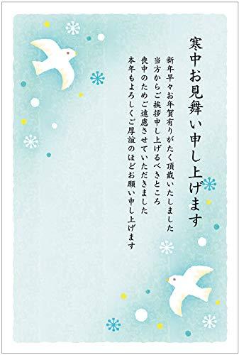 寒中見舞いはがき10枚パック(喪中用文章 No.852 ハト)《切手付き/裏面印刷済み》(e)