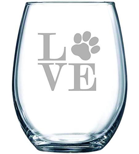 DKISEE Paw Print LOVE Stemless Wine Glass Uniek verjaardagscadeau voor moeder, Grandma, Dad, Grandpa 11oz