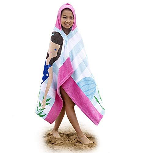 Niños Niñas Toalla de Playa con Capucha - Bebé Bata de Baño 100% Algodón Toalla de Baño Dibujos Animados Manta de Baño Natación (Sirena Cabello castaño)