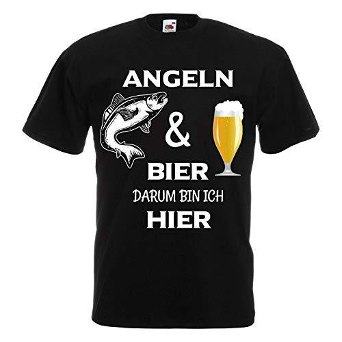 Shirt-Panda Herren T-Shirt · Angeln und Bier darum Bin ich Hier · Sport Angler Fun Unisex Fischer Männer Rundhals Angelshirt Fisch Shirt Brustdruck Motiv · Black 3XL