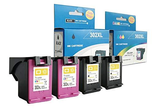 alleda Cartucho de tinta remanufacturado para HP 302XL, capacidad: negro hasta 1000 páginas, color hasta 450 páginas/% prueba de cobertura, 2 años de garantía (juego de 4 cartuchos)