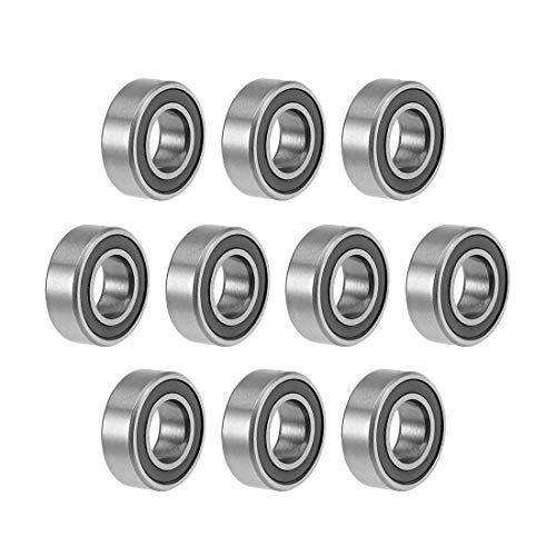 MR126-2RS - Rodamientos de bolas con garganta profunda, 6 mm, diámetro interior 12 mm, diámetro 4 mm, orificio doble sellado acero cromado Z2 10 unidades