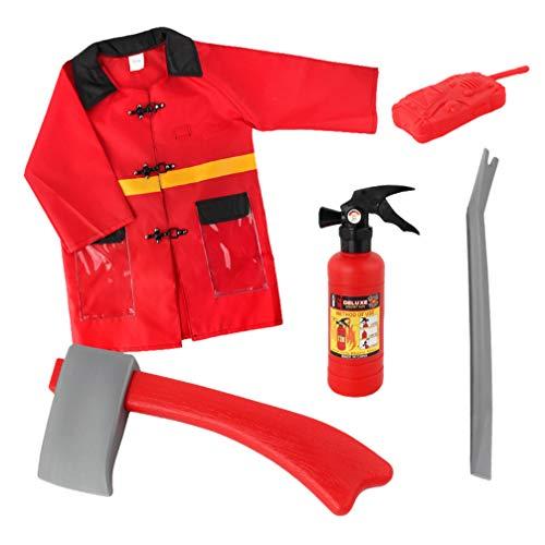STOBOK Disfraz de Jefe de Bomberos para Niños de 5 Piezas con Casco Y Accesorios para Niños