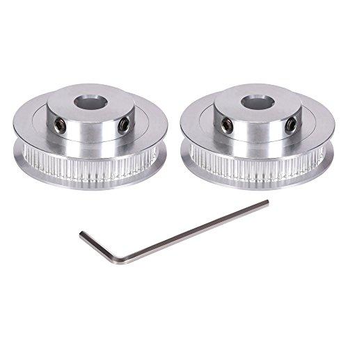 Kingprint GT2-Aluminium-Zahnriemenrad mit 60 Zähnen, 8-mm-Bohrung, für 6-mm-Breite, für 3D-Drucker (2 Stück)