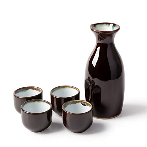 KBNI 5-Piece Japanese Sake Set Sky Blue Rim include 1PC Sake bottle and 4PCS Sake Cups