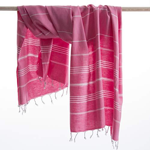 ANATURES Hamamtuch - Strandtuch 95x185cm Playa | Pre-Washed - Oeko-TEX® - Fairtrade - Gekämmte Bio Baumwolle | Saunatuch Badetuch Duschtuch Pestemal Fouta Pareo XL (Rosa)