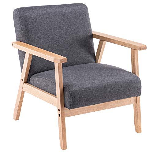 Sillón de madera de acento moderno, tapizado en tela, silla de ocio con reposabrazos de madera maciza y pies para sala de estar, dormitorio, estudio