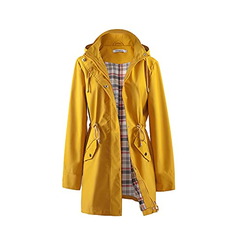 Polydeer Frauen Leichte wasserdichte Regenmantel atmungsaktive Windjacke Jacke Active Outdoor Hooded Trenchcoats Langer Poncho (Gelb, M)
