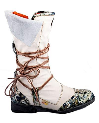 TMA 5561 Damen Stiefel Leder gefüttert weiß - EUR 42
