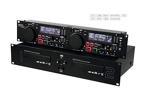 OMNITRONIC CMP-2000 Dual-CD-MP3-Player | Für Audio-CD, CD-R, CD-RW, MP3 | 2 USB-Schnittstellen