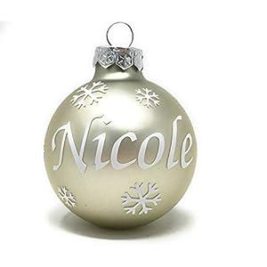 Weihnachtskugel mit Name aus Glas 6cm Wunschtext Creme Matt