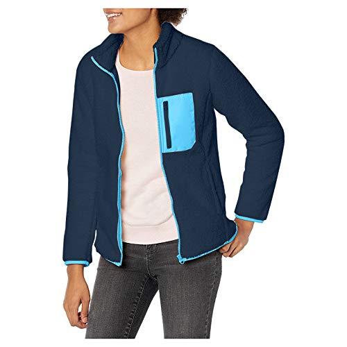 Women Long Sleeve Fuzzy Fleece Zipper Warm Winter Faux Fur Shearling Jacket Coat with Pocket by Vanankni