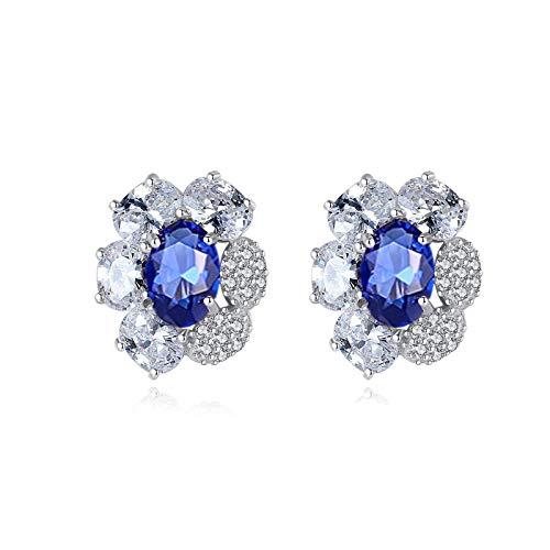 Beydodo Pendientes Mujer 925,Pendientes Mujer Azul Flor con Oval Circonita Azul