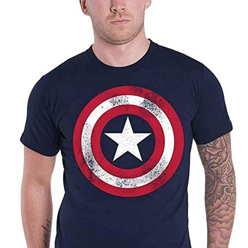 Marvel Camiseta de hombre de Capit¨¢n America Distressed Shield, azul marino grande