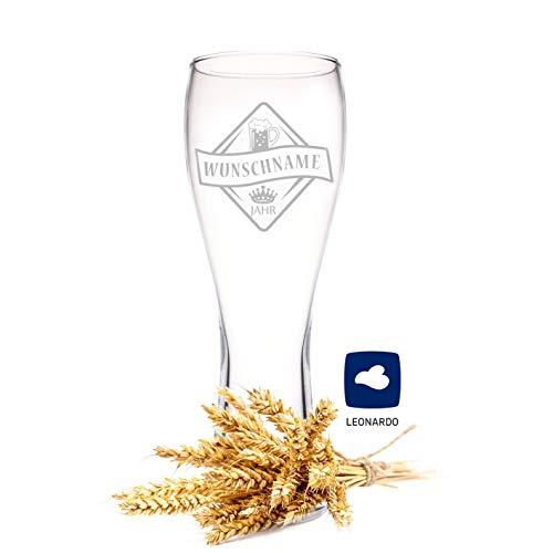 Leonardo Weizenglas mit Gravur - Bierkenner 2.0 - Personalisiert mit Namen & Geburtsjahr - Geschenk für Papa auch als Vatertagsgeschenk 0,5l Bierglas Weizenbierglas als Geburtstagsgeschenk für Männer