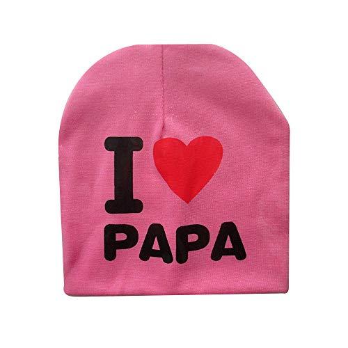 styleinside Chapeau Bébé, I Love Mama/Papa Lettre Imprimer Bonnet Fille Bonnet Fille Élastique Chapeau Extérieur Crâne, Rose