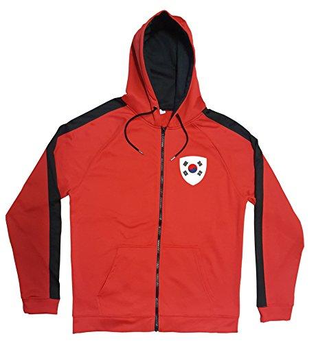 Südkorea Jacke Sweater Rot JA GO South Korea Trikot Look Zip Nation Fussball Sport (L)