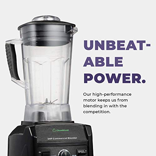 Cleanblend Commercial Blender - 64 Oz Countertop Blender 1800 Watt Base - High Performance Ice Crusher - Large Smoothie Blender, Food Processor Frozen Fruit or Hot Soups