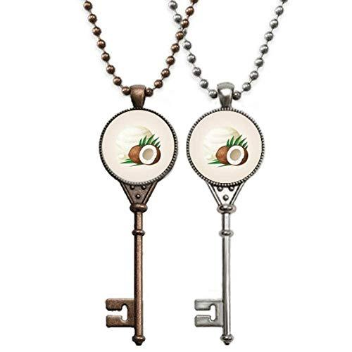 Halskette mit Anhänger aus Kokosnuss und Eis am Stiel, als Dekoration für Paare.