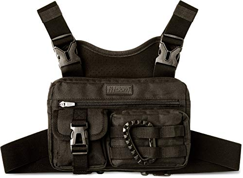 Fitdom Tactical Inspired Running Chest Pack. Chest Bag for Men with Built-in Phone Holder. This Sports Utility Rig Vest is Perfect for Workouts, Cycling & Hiking with Pockets for Extra Storage