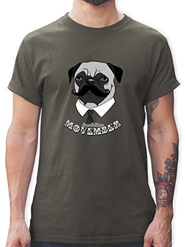 Statement - Movember Mops - S - Dunkelgrau - t-Shirt Herren mops - L190 - Tshirt Herren und Männer T-Shirts