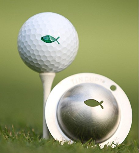 Tin-Cup Gone Fishing Golfbal-markerer, staal, eenheidsmaat