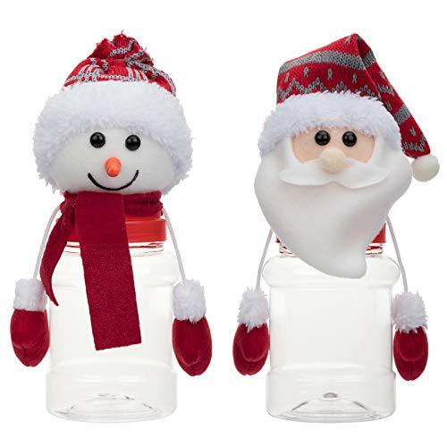 2Pcs Christmas Candy Jar Children gift - Santa Snowman Ornament Storage Box, Favor Bottle with Plush Doll Lid, Food Grade Safe Plastic Transparent Bottle, Party Goods for Xmas