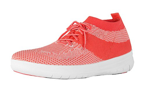 FitFlop Frauen Ãœberknit Slip-on High Top Sneaker - Hot Coral & Neon Blush, Rosa, 38