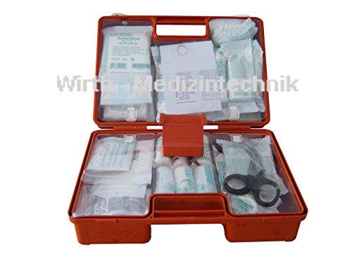 "Erste Hilfe Koffer zur Wandmontage inkl. Befestigungsmaterial und Beatmungshilfe (DIN 13169, ""SAN"" 31x21x13 cm)"