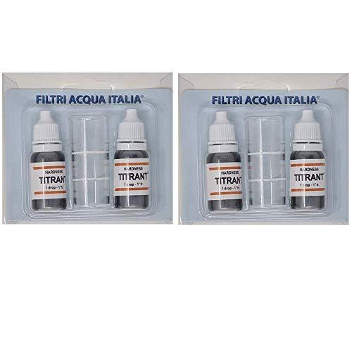 FILTRIACQUAITALIA Titrant Set 4 Pezzi Kit Analisi Durezza Acqua (Gradi Francesi) per Misurare Calcare