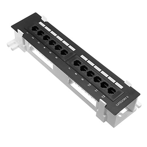 Cmple - 12 Port Cat 6 Network Patch Panel Compact Vertical Wall Mount...