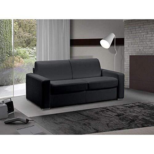 Canapé lit 3-4 Places Master Convertible Ouverture RAPIDO 160 cm Cuir Eco Noir Matelas 18 CM Inclus