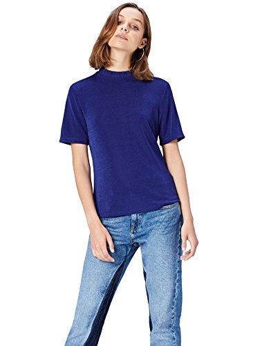 Amazon-Marke: find. T-Shirt Damen mit lockerer Passform, Blau (Blue), 36, Label: S
