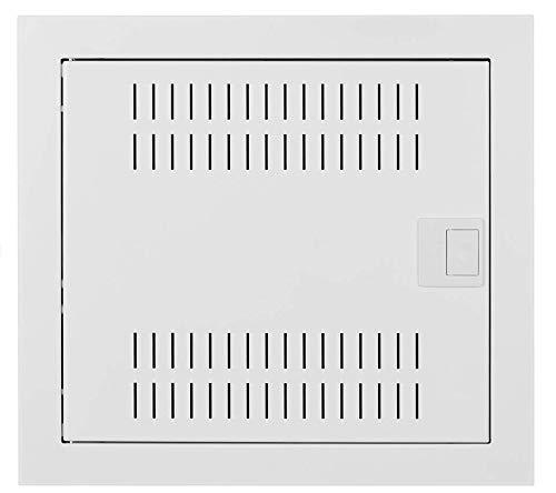 Naka24 Metall Multimediaverteiler Unterputz mit Metalltüren MSF Schutzklasse IP 30 (12 Modulen 2011-00S), Weiß