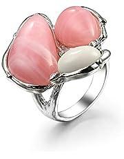 KnSam Anillo de compromiso para mujer, anillo de compromiso, anillo de boda, chapado en oro, geometría con circonita blanca
