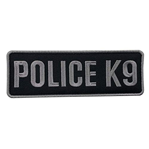 uuKen Embroidery Subdued Gray Grey Police K9 Unit Embroidered Tactical Patch 6x2 inches with Hook Fastener Back for Tactical Vest Jackets Harness (Black and Gray, 6'x2')