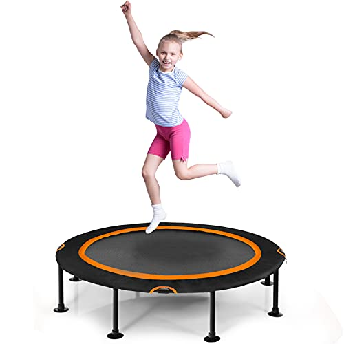 COSTWAY φ 120 cm Mini Trampolin, Fitness Trampolin faltbar, Kindertrampolin bis 150kg belastbar, Gartentrampolin, Indoor- und Outdoortrampolin für Erwachsene und Kinder (Orange)