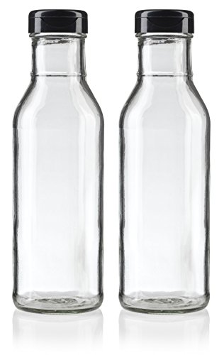12 oz Professional Clear Glass Thick Wall Sauce Bottle with Drip Resistant Flip Top Cap (2 Pack) for BBQ Sauce, Salad Dressings, more