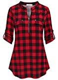 Ninedaily Plaid Shirts for Women, Gifts for Women Shirts Happy New Years Shirts 2 in 1 Set Summer Casual Extra Long Dressy Tunics to Wear with Leggings Flowy Hem Black and Red Plaid Shirt,Size XL