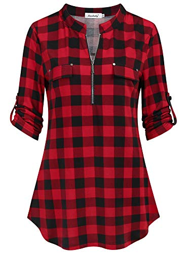 Ninedaily Plaid Shirts for Women,Tunic Tops for Leggings Ladies Tops Dressy 3/4 Sleeve Winter Casual Home Basic Oversized XXL Loose Fitting Plus Size Clothing, Size XXL