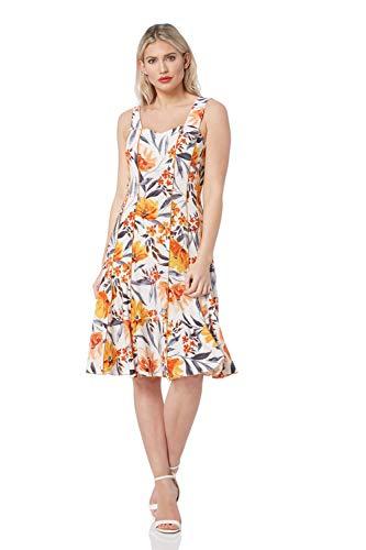 Roman Originals Vestido de panel con estampado floral para mujer – Jersey de patinador para mujer, elegante, casual, sin mangas, escote corazón, longitud a la rodilla, Midi una línea favorecedora