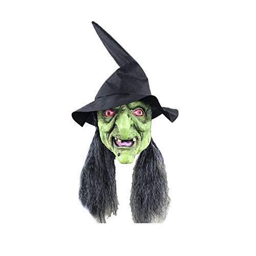Nicetruc Máscara de Halloween de la Bruja Verde Principal Máscara de látex Máscara Bruja con el Pelo Negro y el Sombrero de Halloween Horror MaskHorror Traje Cosplay Prop para Halloween