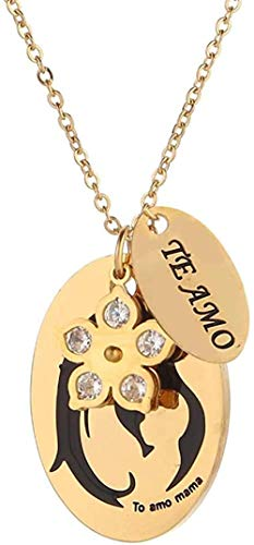 ZJJLWL Co.,ltd Necklace I Love You Necklace Te Amo Collar in Spanish Mom Love Quote Necklace Jewelry Gift to Mom