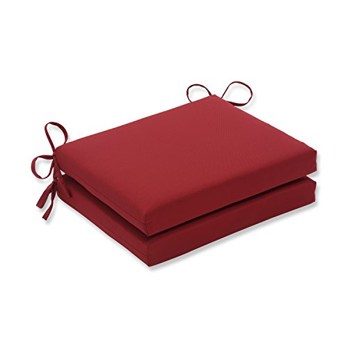 "Pillow Perfect Outdoor/Indoor Pompeii Square Corner Seat Cushions, 18.5"" x 16"", Red, 2 Count"