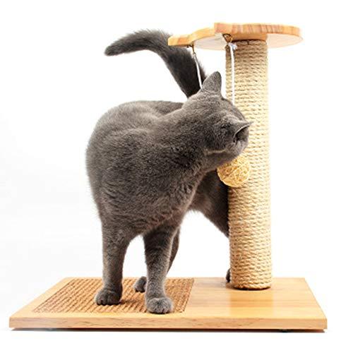 Krabpaal voor katten - Huisdier spelen klimmen Amusement Sisal Pole met Top Tease Toy Ball, Grenen houten huisdier speelgoed