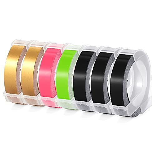 Aken Cinta de repujado compatible para Dymo 3D Label Tapes, etiquetas 3D autoadhesivas para máquina de repujado Dymo Omega Junior, blanco sobre negro, dorado, rosa fluorescente,verde fluorescente