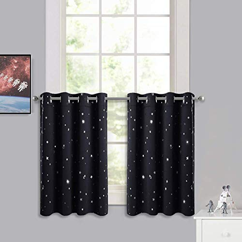 RYB HOME Window Tier Curtains - Thermal Insulated Short Panels for Kids Room, Sunlight Block Kitchen Valance Sets, Home Decor Children Gifts for Bedroom Cafe Nursery, Black, 52 x 36, 2 Pcs